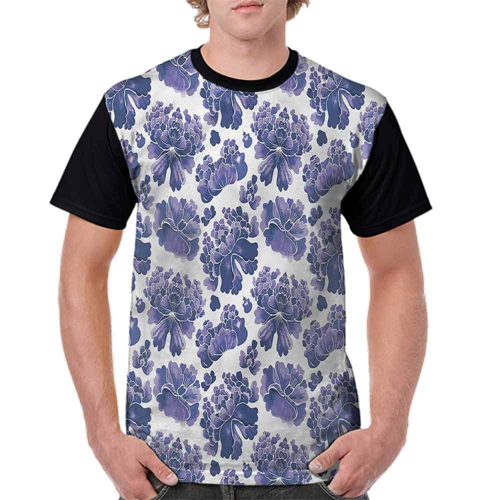 BlountDecor Casual Short Sleeve Graphic Tee Shirts,Chinese Lotus Zen Fashion Personality Customization