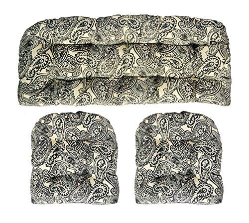 RSH DECOR 3 Piece Wicker Cushion Set - Made with Indoor/Outdoor Tommy Bahama Summery Spin Ink Black Paisley Scroll Fabric Cushion for Wicker Loveseat Settee & 2 Matching Chair Cushions (Paisley Settee)
