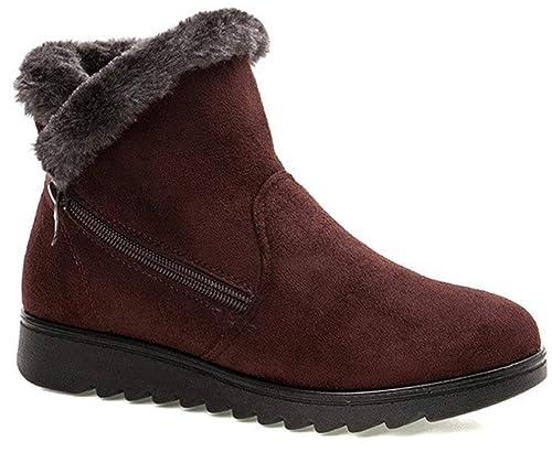 10e45a1dbdb6d2 Femme Filles Chaussures Bottes de Neige Hiver avec Fourrure à Talons Plats  Chaude Boots Plates Chaussures