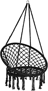 Giantex Hammock Chair Macrame Swing, Cotton Rope Handwoven Hanging Chair 330 Pounds Capacity, Macrame Tassels Hammock Swing for C-Hammock Stand, Living Room, Yard, Garden, Balcony (Black)