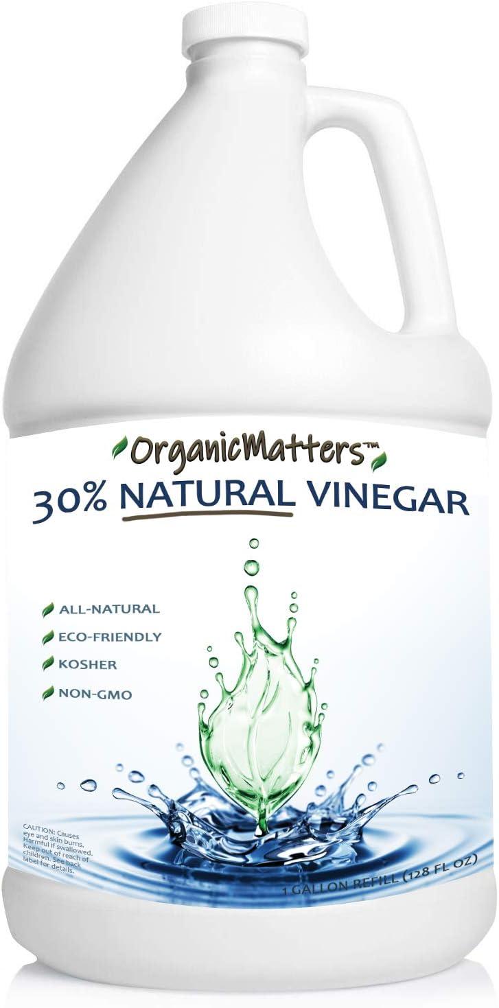Vinegar 30% Organic Industrial Concentrate, Pure Non-GMO Kosher All-Purpose Home & Garden Vinegar, Eco-Friendly (128 oz Gallon Refill)