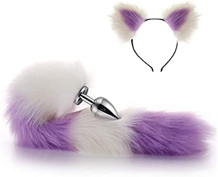 NERO Orecchie da Gatto con coda cerchietto Costume Accessorio pelliccia animale