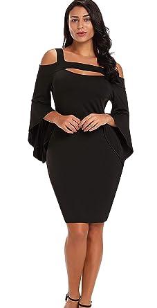 c5f8274891e Lukis Femme Robe Genou Moulant Minceur Manche Longue Évasé Bodycon Épaule  Dénudée Col V Soirée  Amazon.fr  Vêtements et accessoires
