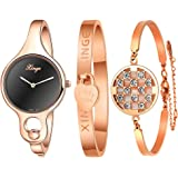 Xinge Women's Rose Gold Bangle Watches and Bracelets Set Black Dial with 2 Hands XG3678BR&0620
