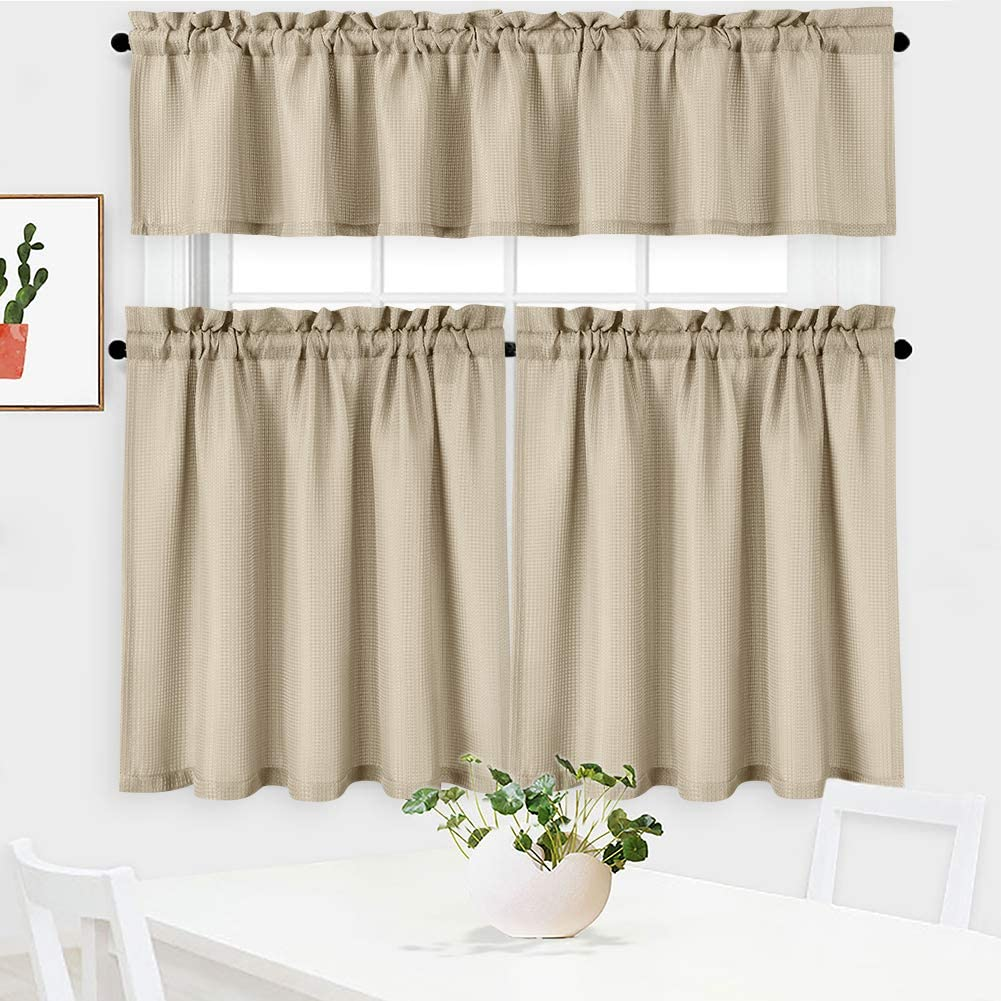 NANAN 3 Pieces Waffle Weave Textured Kitchen Tier Curtains and Valance Set for Bathroom,Waterproof Tailored Short Cafe Curtains,Plaza Taupe