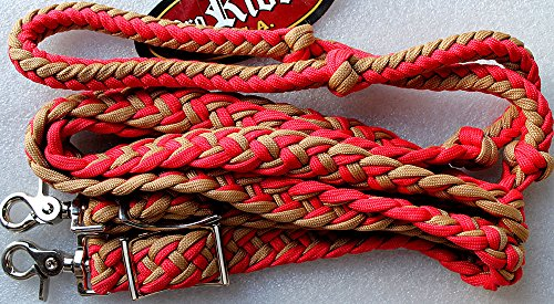 PRORIDER Roping Knotted Horse Tack Western Barrel Reins Nylon Braided Red 60715 ()