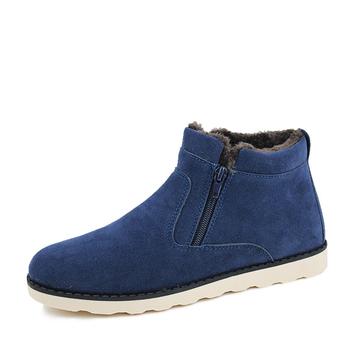 A-cool Men's Winter Fur Lined Snow Boot Side Zipper Ankle Keep Warm Cotton Shoes