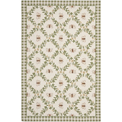 Safavieh Chelsea Collection HK55A Hand-Hooked Ivory and Green Premium Wool Area Rug (6' x (Floral Pattern Green Wool)