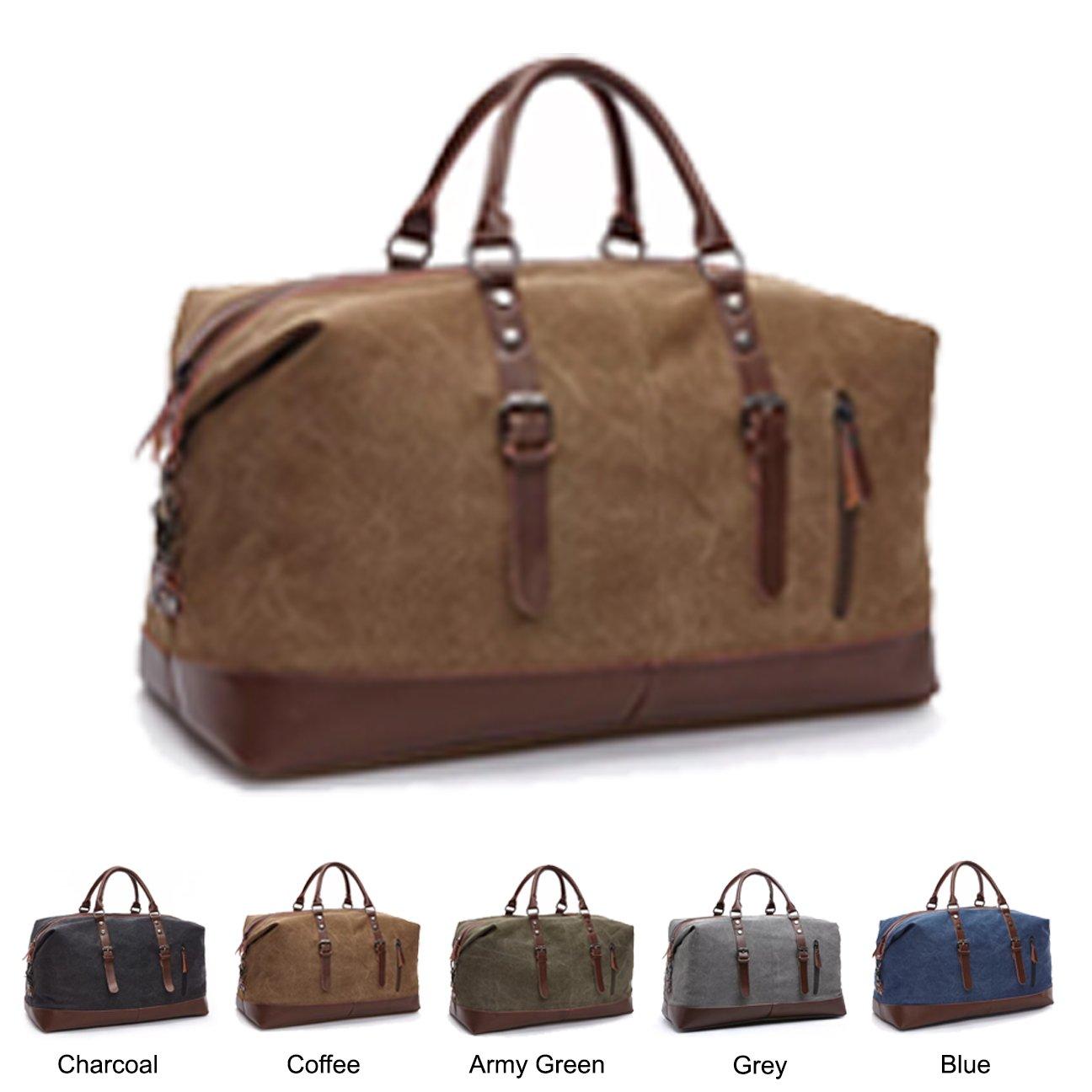 Queenie - Large Unisex Canvas Overnight Travel Tote Luggage Weekend Duffel Bag Shoulder Bag Gym Bag (Model 8655 Coffee)