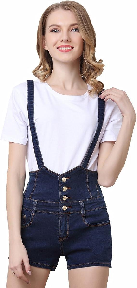 per l/'estate Salopette corta da donna in jeans elasticizzato