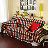 American style striped slipcover sofa,Countryside lattice Couch Covers sofa towel sofa cover cloth furniture protector for 1 2 3 4 cushions sofa-B diameter220cm(87inch)