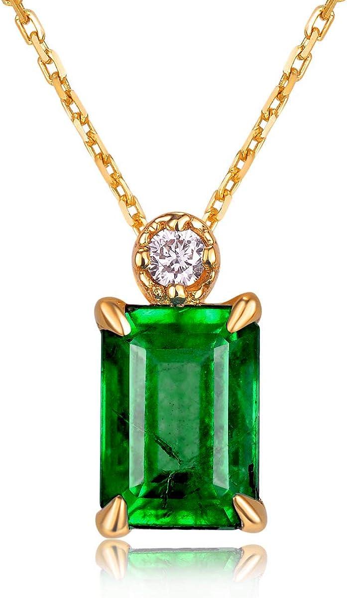 QKL Collar Clásico De Piedras Preciosas Chapado En Oro De 18 Quilates para Mujer, Colgante De Turmalina Verde Esmeralda Esmeralda, Elegante
