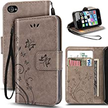 iPhone 4 Case,Korecase Premiun Wallet Leather Credit Card Holder Butterfly Flower Pattern Flip Folio Stand Case for Apple iPhone 4 4S With a Wrist Strap - Gray