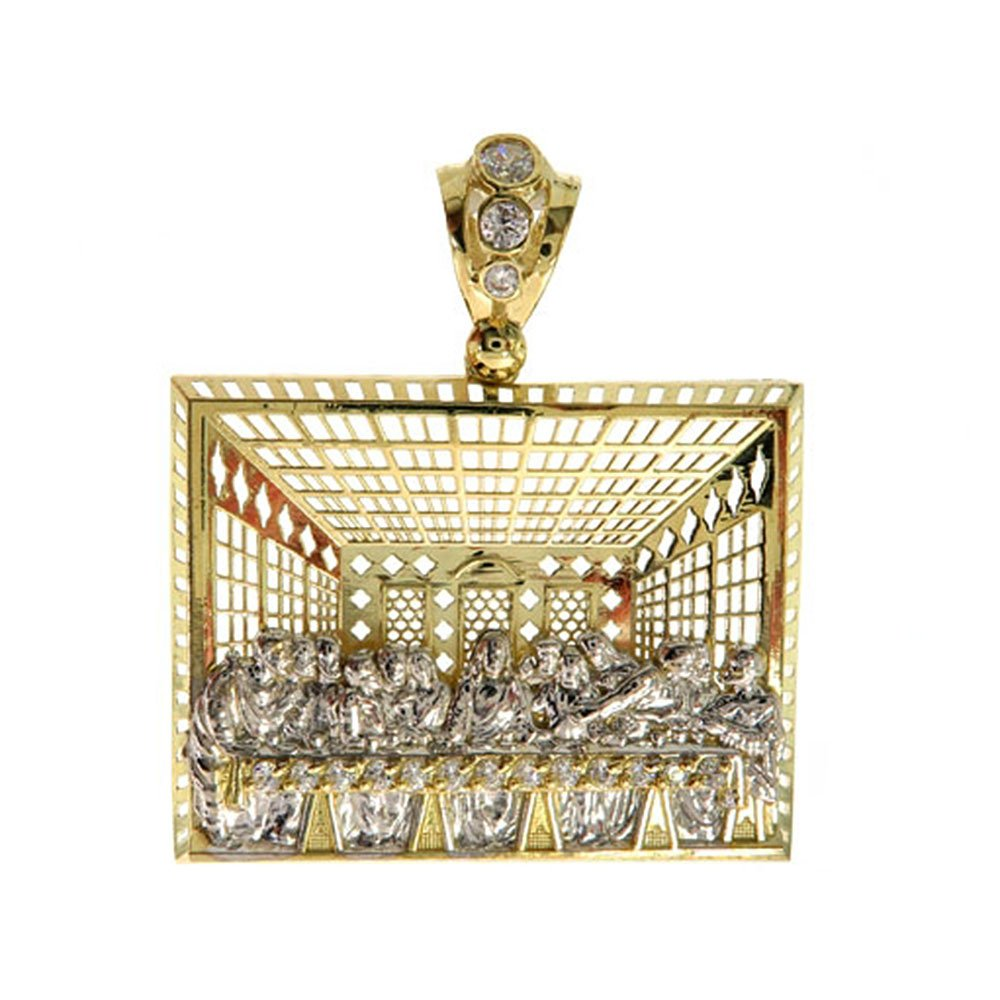 """10K Two Tone Gold CZ 1.9"""" Inch Large Heavy The Last Supper Pendant Hip Hop Style Charm for Necklace"""