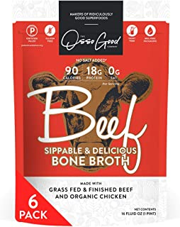 product image for Osso Good Beef Bone Broth, 6 - 16 Ounce Pouches, High in Protein & Collagen, Ships Frozen