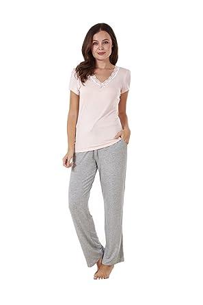 Ladies Soft Pyjama Pink Set Short Sleeve PJ S Grey Pockets Lace Nightwear 2853e0542