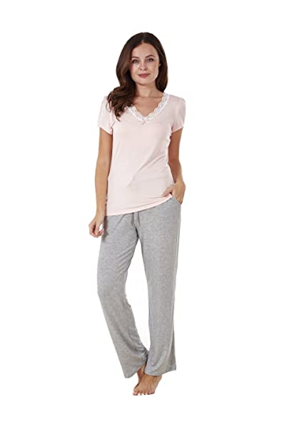 Conjunto de pijama para mujer - Manga corta - Con bolsillos - Gris / rosa -