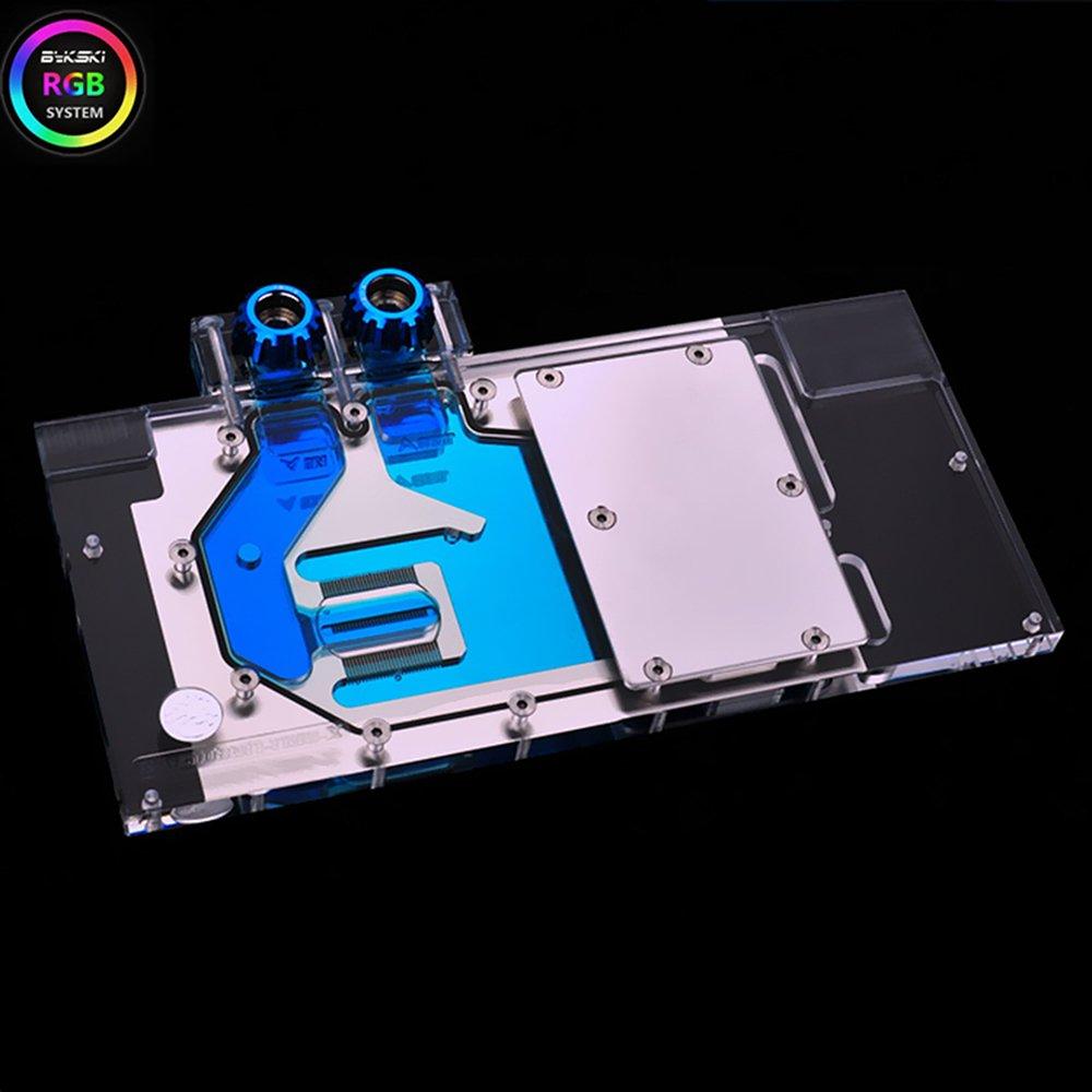 Clear with 2 Free Bykski Rigid 12mm OD Fitting V2 Black Bykski ASUS ROG Strix RTX 2070 Full Coverage GPU Water Block