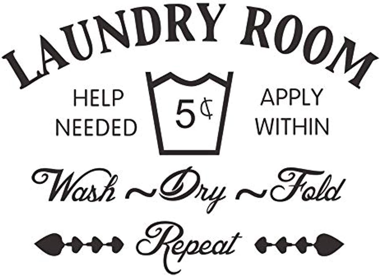 Laundry Room Home Wall Decal Words Decor Sticker Vinyl Decor Words Waterproof