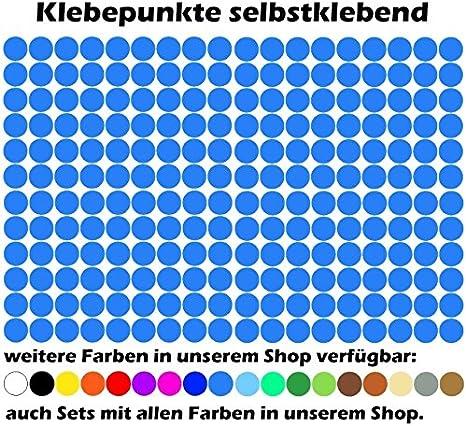 K018 Azurblau 3600 Klebepunkte 5mm 18 verschiedene Farben selbstklebend Aufkleber Inventur Kreise Punkte Markierung