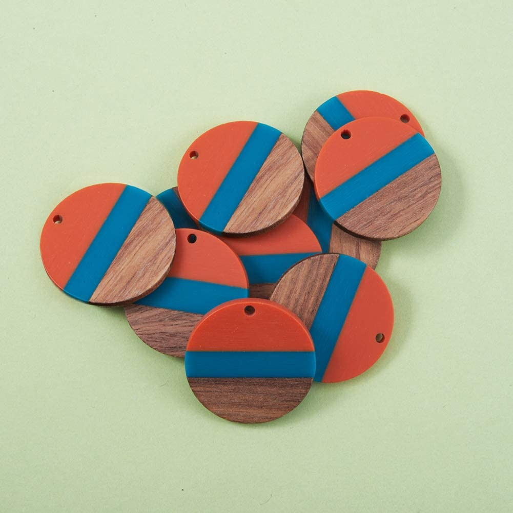 28x3.5mm Airssory 10 Pcs Two Tone Transparent Resin /& Wood Pendants Flat Round Charms in Bulk for Jewellery Making DIY Findings