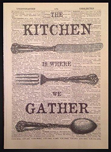 Vintage Cubertería Print Diccionario libro Página Cuadro De Cocina Tenedor Cuchillo