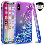 iphone xs case,iphone x glitter case w/ tempered glass protector [2 pack] for girls women,leyi cute