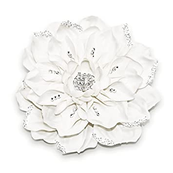 New silver tone high quality white rhinestones crystal big flowers headband