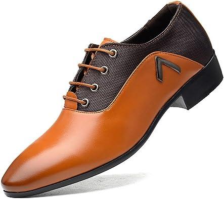 Zapatos Zapatos con Cordones para Hombre Zapatos de tacón Negro Oxfords de Negocios con Cuero PU Empalme Transpirable Vamp Zapatillas de conducción Zapatos de Hombre: Amazon.es: Zapatos y complementos