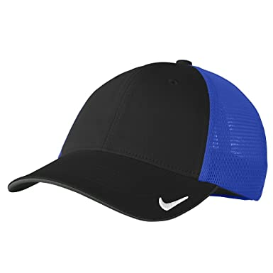 Nike Original Swoosh Embroidered Flex Fitting Mesh Back Cap - BLACK ROYAL -  S-M 28a3b689dcf