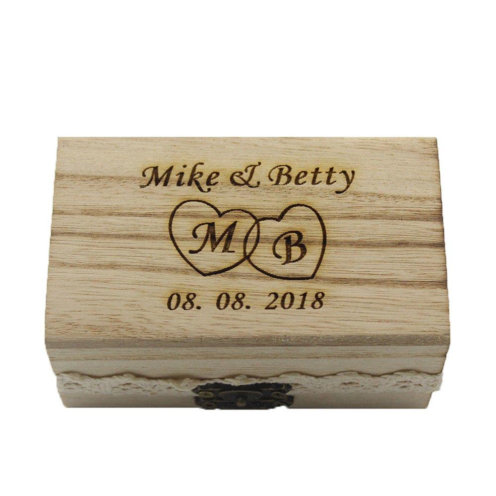 YS2016 - Caja para alianzas grabada, rústica, de madera envejecida y detalle de encaje, personalizable, idea de regalo para parejas Style G: Amazon.es: ...