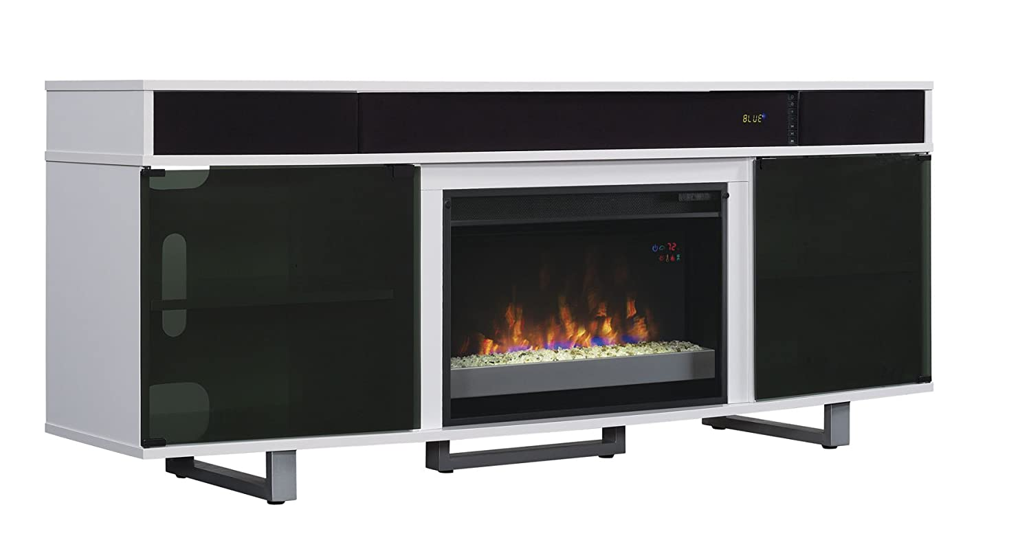 Tv Stand Speakers Enterprise Gloss Electric Fireplace Insert Sold Flat Screen Ebay