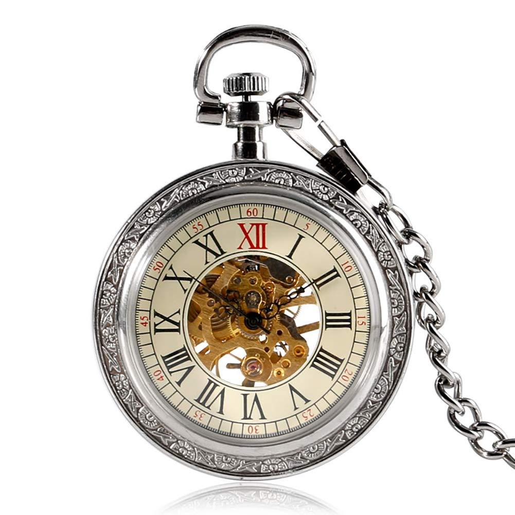 Vintage Pocket Watch, Silver Transparent Skeleton Gear Pocket Watch, Mechanical Hand Wind Watch Gift for Men