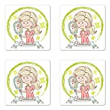 Ambesonne Zodiac Gemini Coaster Set of Four, Cartoon Style Little Girl with a Mirror and Reflection Twins Concept for Kids, Square Hardboard Gloss Coasters for Drinks, Multicolor