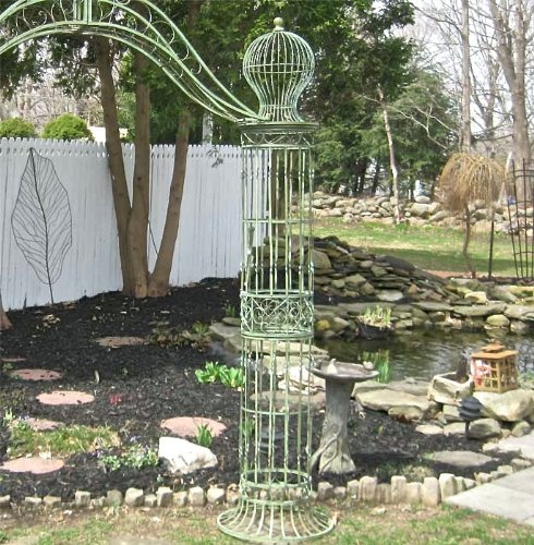 Garden-Trellis Arch 9' Tall - Wrought Iron - Antique Mint Green Finish by SERENDIPPITY (Image #1)