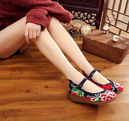 WXT Zapatos bordados, lino, lenguado del tendón, estilo étnico, zapatos femeninos aumentados, manera, cómodo, ocasional Red