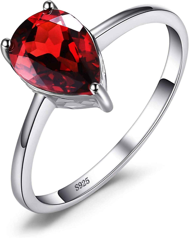 JewelryPalace Anillo Compromiso de Piedra Preciosa Natural Amatista Citrino Granate Peridoto Topacio Birthstone Solitario Plata de ley 925