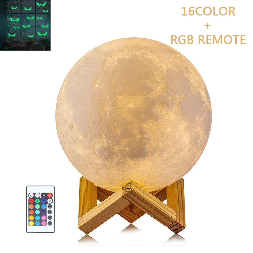 SIEGES Moon Lamp Night Light - 16 Colors RGB Moonlight Desk Lamp - USB Rechargeable - Dimmable Touch Sense Control - 5.9 inch