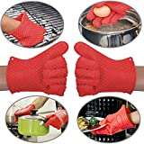 HOMEIDEAS Outdoor BBQ Silicone Gloves Oven Mitts,Barbecue Pulled Pork Claws,Basting Pad,3 in 1 Cook Set for Cooking,Grilling,Baking(Red)