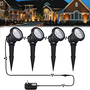 8W LED landscape light Outdoor Landscape Spotlights with Spike Stand 12V Low Voltage landscape lighting, IP66 Waterproof Garden Yard Trees Flags Pathway Lights Warm White(800LM, 3000K), 4pack, UL Plug