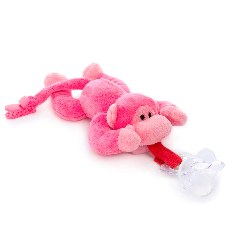 Amazon.com: BabyHuggle – Chupete de mono rosa – peluche de ...