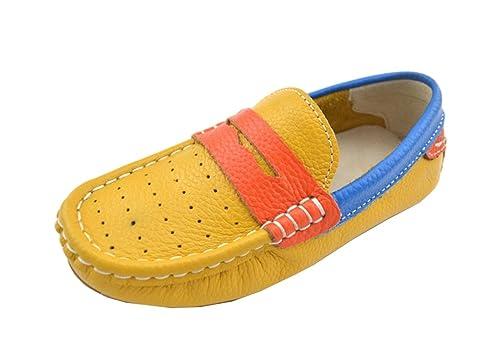Minitoo - Mocasines de Piel para niña , color Amarillo, talla 285 EU Niño: Amazon.es: Zapatos y complementos