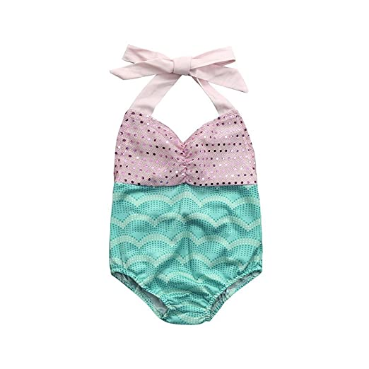 df4f418e3 Sunward Baby Kid Girls Mermaid Bow Halter Bikini Set One Piece Swimwear  Swimsuit Bathing Suit (