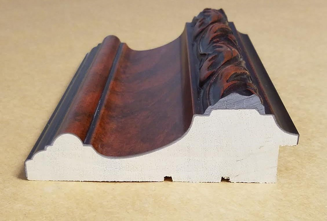 18' Italian HUGE Swan Mahogany Tone Ornate Picture Frame Moulding Solid Wood