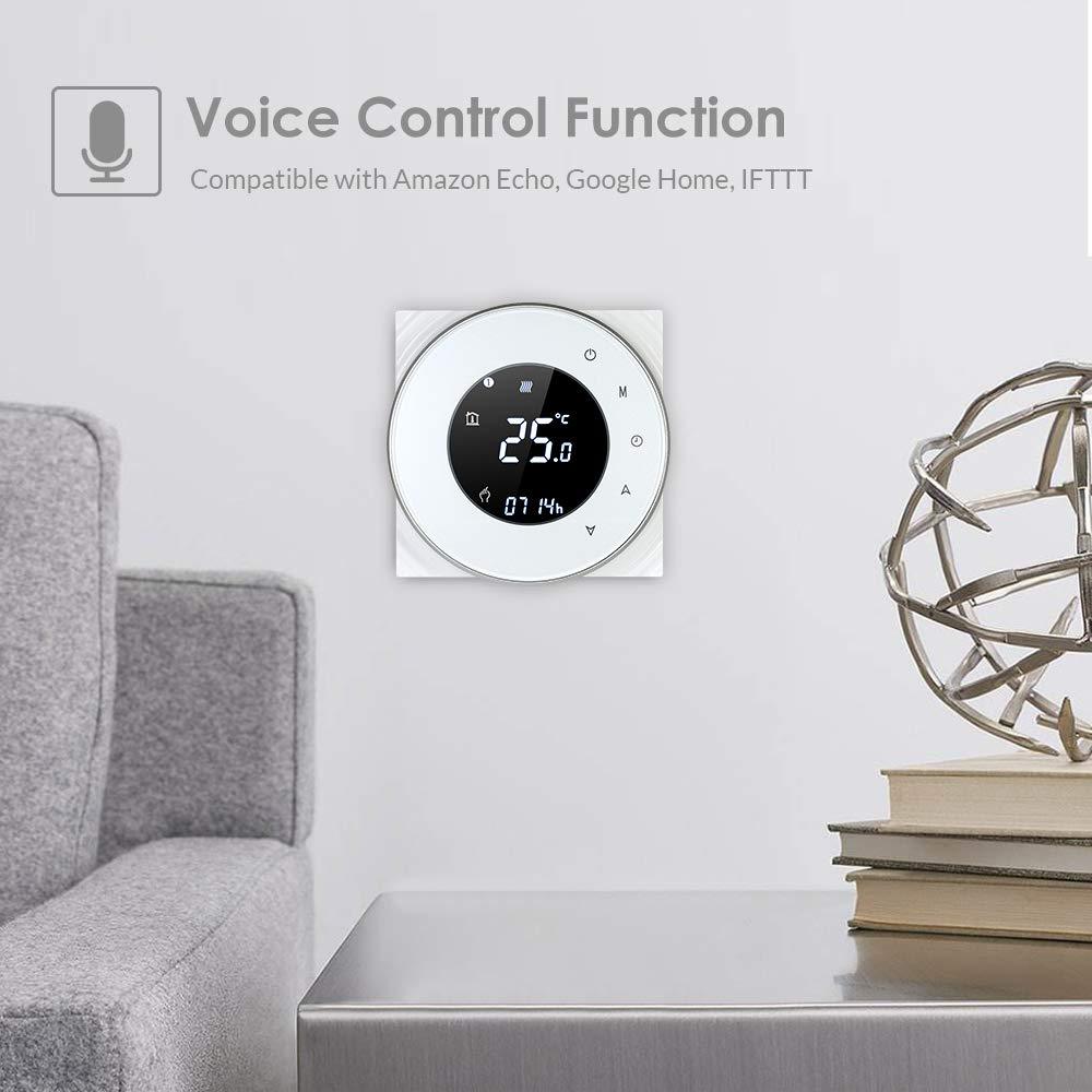 Thermostat de Chauffage de chaudi/ère /à gaz programmable Fonction de Commande vocale Blusea Thermostat Intelligent WiFi Num/érique Compatible avec contr/ôleur de temp/érature /à Contact Sec