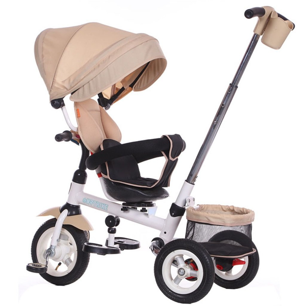 KANGR-子ども用自転車 多機能4-in-1折りたたみ式子供用三輪車キッドトロリープッシュハンドルステーラー自転車、アンチUV日よけ  1-3-6歳の少年少女と赤ちゃんのおもちゃ ロータリー席 インフレータブル(または非)ソリッドゴム3ホイール カーキ ( 色 : A型 がた ) B07BTMJ2L5 A型 がた A型 がた