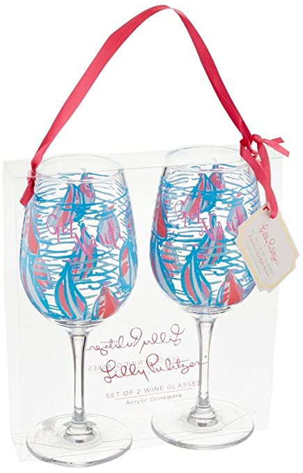 26271a7b6dc Image Unavailable. Image not available for. Color: Lilly Pulitzer Acrylic  Wine Glass Set ...