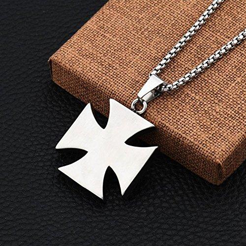 Generic Goofan_ Japan Korea _hip-hop_ fashion _square_ cross necklace Pendant man steel ornaments women girl long _section_STN687 by Generic