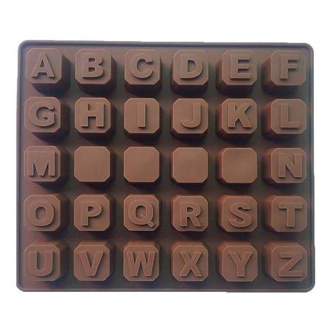 Naisicatar Bandeja de Silicona moldes de Chocolate Alfabeto práctico Letras en Blanco moldea DIY para la