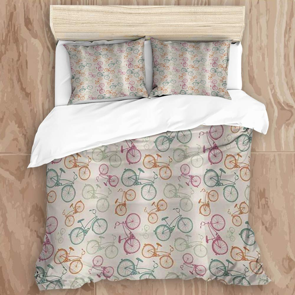 """GLONLY 3pcs Bedding Set,Bicycle Sketch Bikes in Retro Colors Hipster Pattern Pedals Wheels Urban Life Theme Vintage Multicolor,Latest Style Duvet Cover & 2 Pillow Shams Microfiber Quilt Cover 68"""" 88"""""""